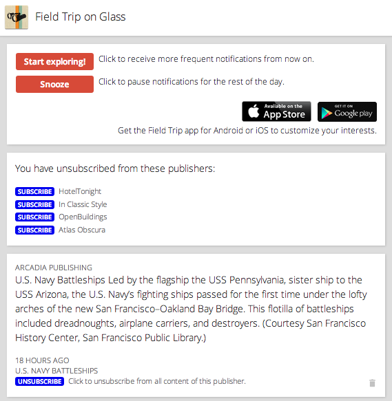 Manage feeds on Glass – Field Trip Help